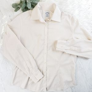 Brooks Brothers Pinstripe Fitted Stretch Button Up